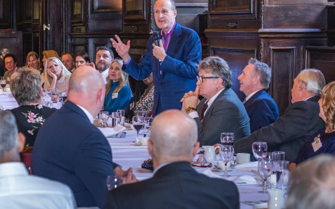 Sir Peter Bazalgette, non-executive Chair of ITV, entertains guests at our 192nd Annual Luncheon
