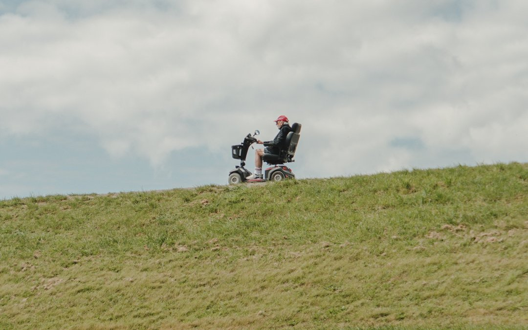Man on a mobility scooter