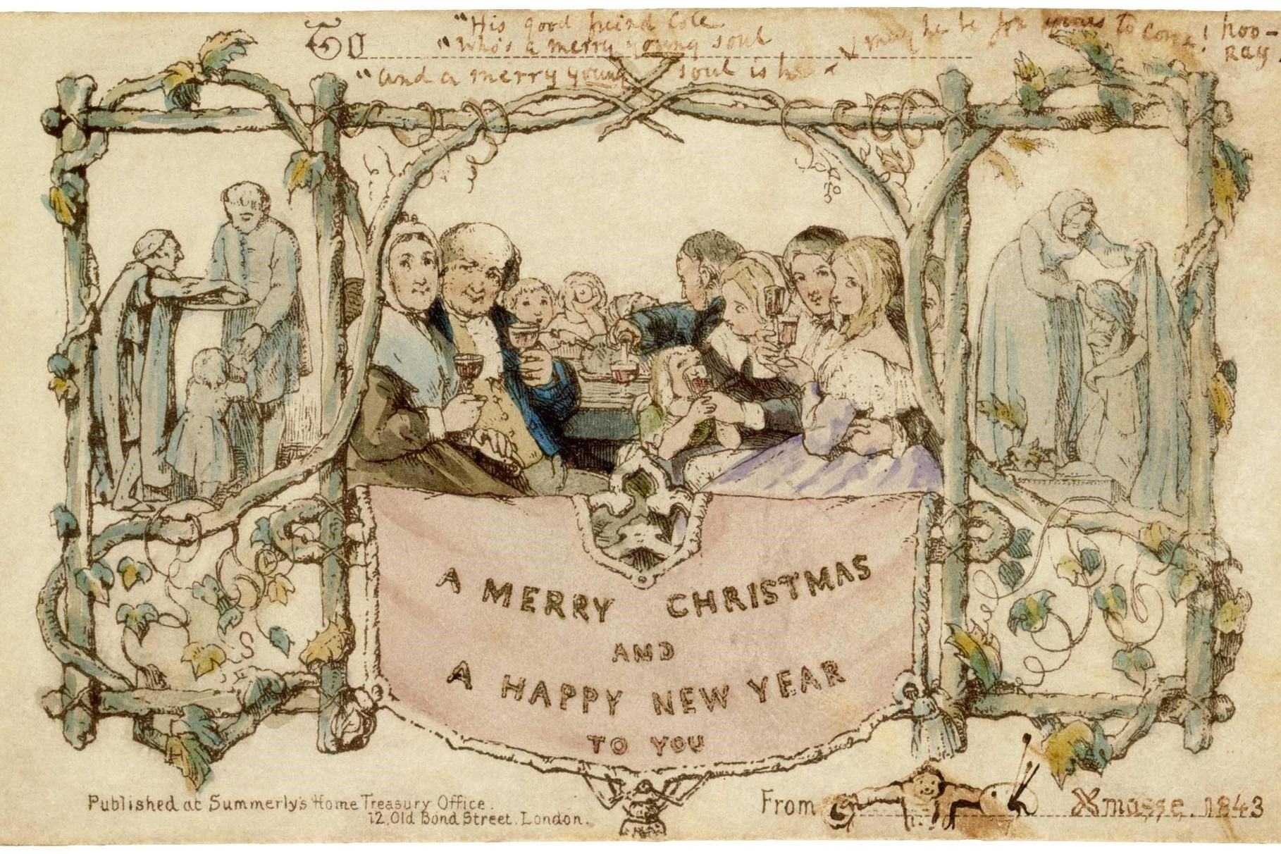 Greetings card, John Callcott Horsley, 1843, England. Museum no. MSL.3293-1987. © Victoria and Albert Museum, London.