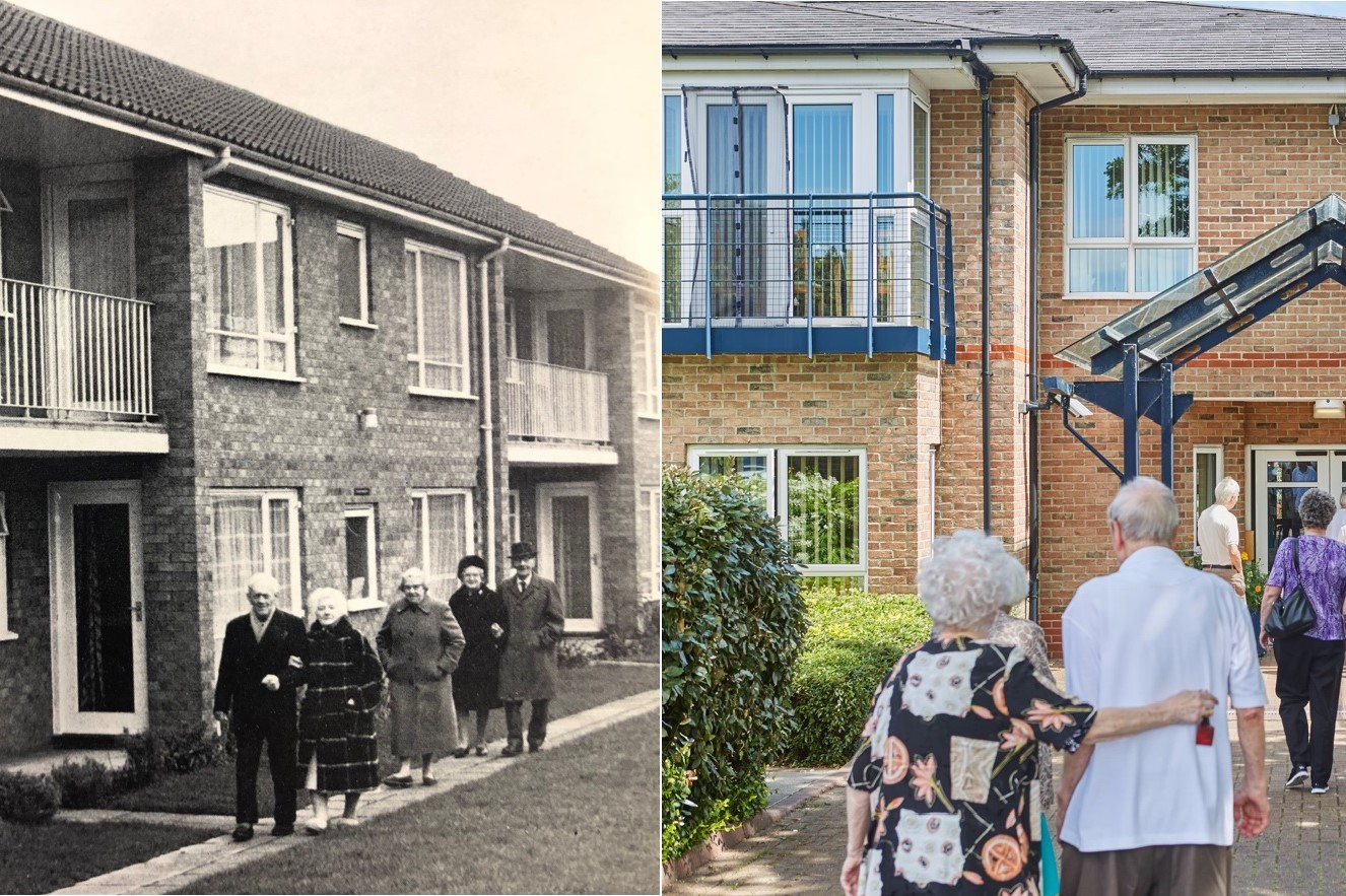historical image of sheltered homes almshouses basildon bletchley older people walking into and around a building